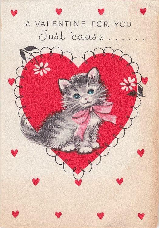 Valentine Card Kitten Vintage Valentine Cards Valentines Day Cat Valentines Cards