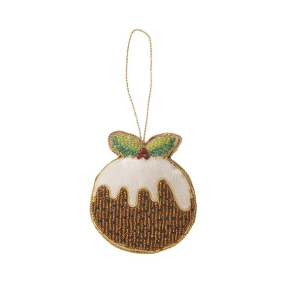 new beaded christmas pudding decoration fortnum mason