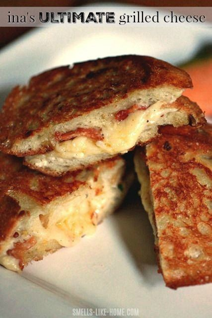 Ina Gartens Ultimate Grilled Cheese is like grilled cheese on steroids. Add a bowl of creamy roaste