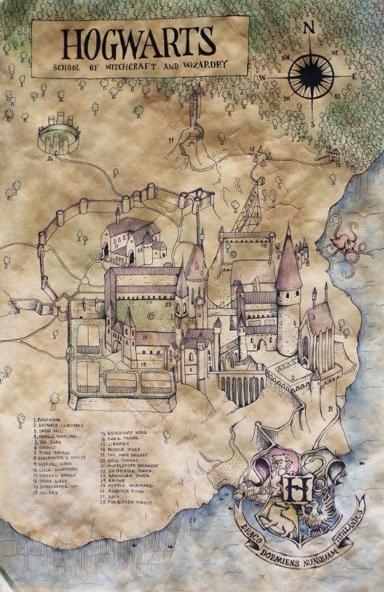 Hogwarts Map Art Print | Harry potter | Harry potter hogwarts, Harry ...