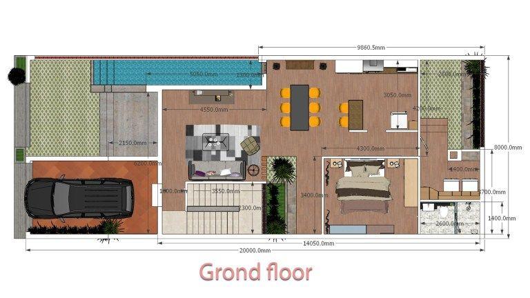 Interior Design Home Plan 8x20m Walk Through Samphoas Plan House Plans House Design Modern Small House Design