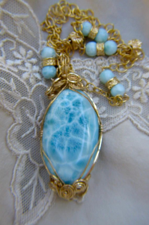 32) Genuine 80ct Dominican Republic Larimar Cabochon Wrapped in Gold ...