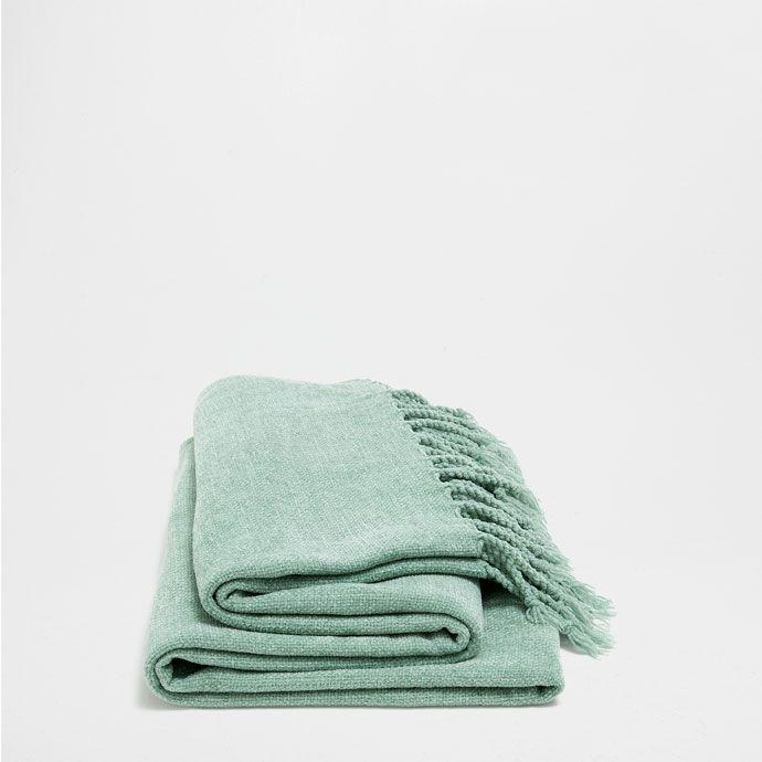 Zara Home Cojines Y Mantas.Manta Chenilla Verde Mantas Decoracion Zara Home