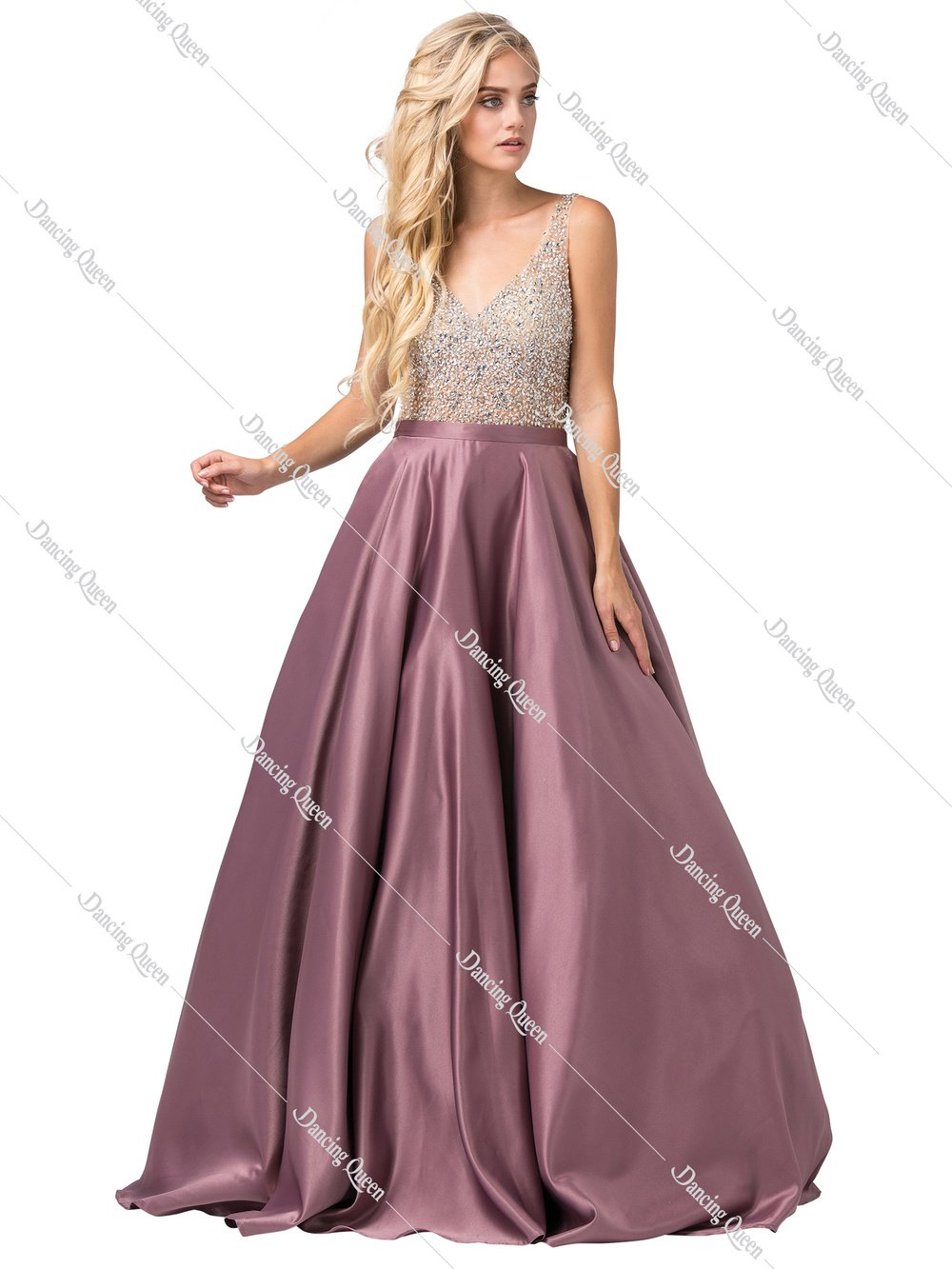 e625dd8316 DQ 2568 - Beaded Open Back Satin Ball Gown with Pockets in 2019 ...