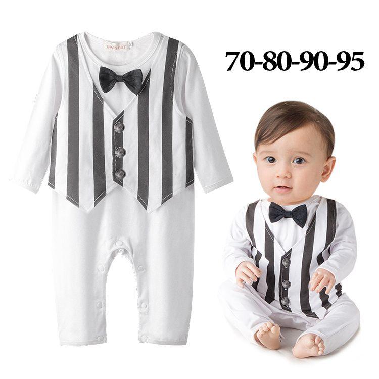 2337dc10fa9 Wholesale 4pcs lot Infant Toddler Baby Boy s Formal Wear Tuxedo Rompers