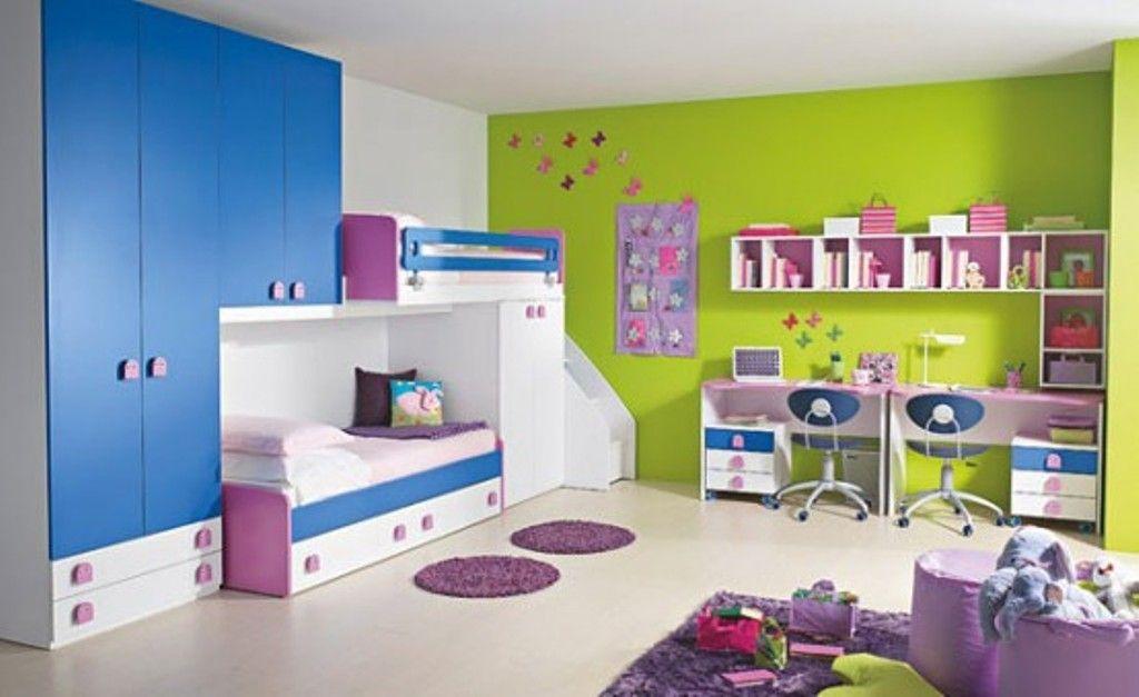 habitacion infantil doble azul y verde