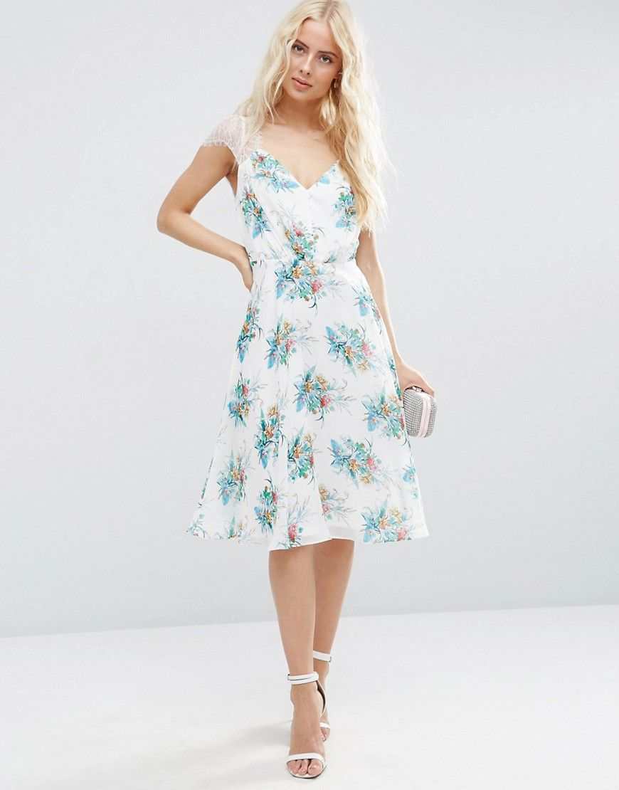 Image 1 of ASOS Kate Lace Midi Dress In White Floral | Bridesmaid ...