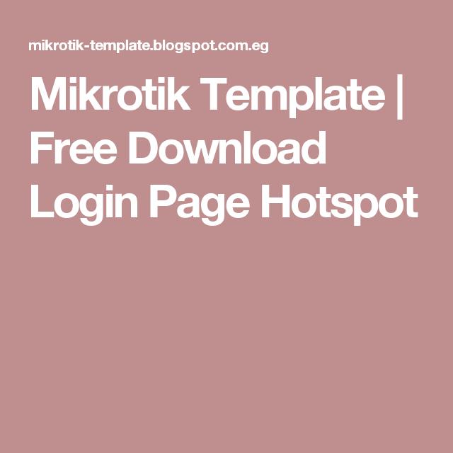 Mikrotik Template   Free Download Login Page Hotspot   Mikrotik