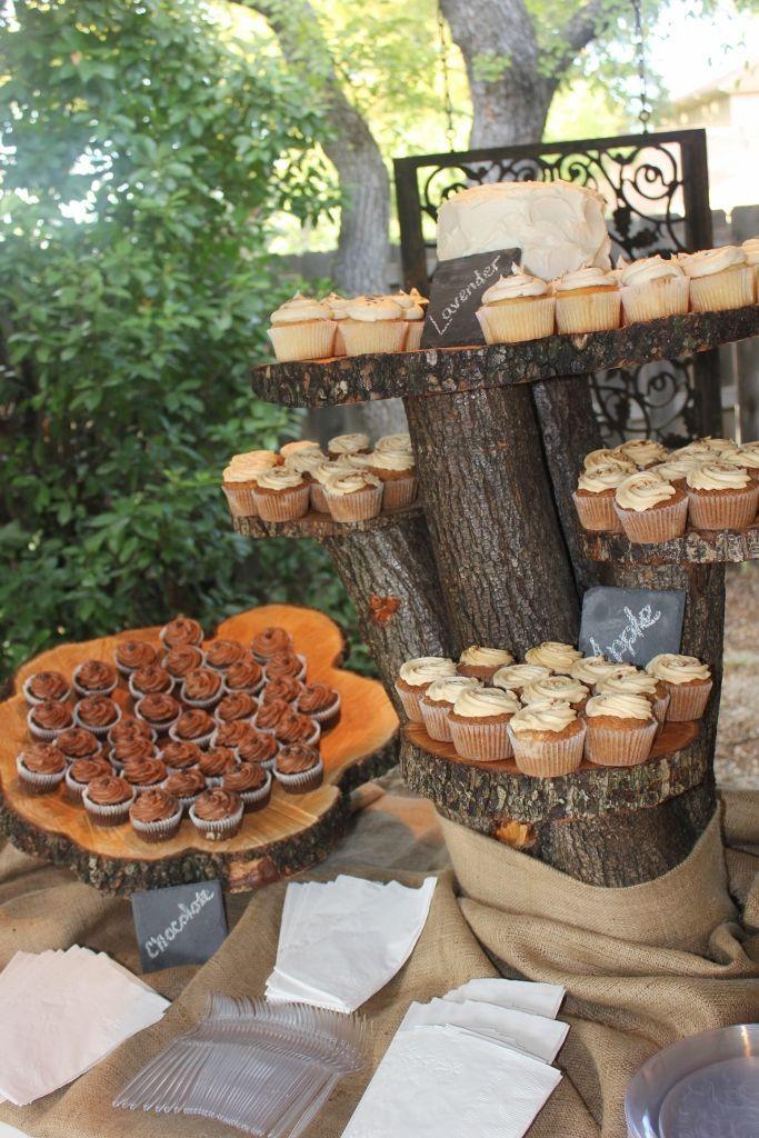 Wedding rustic cupcake stand.
