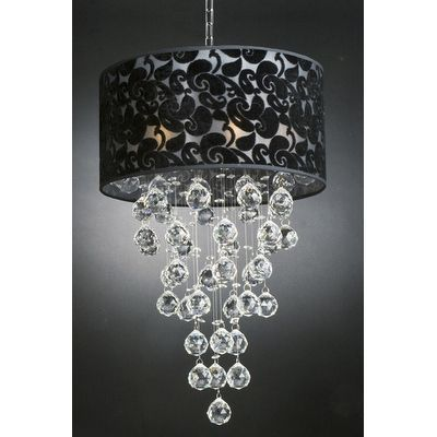 Contemporary 6 Light Chandelier with Shade and Faceted Balls
