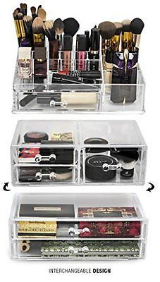 Acrylic Makeup Organizer Storage Case Stackable And Interchangeable Display  Set