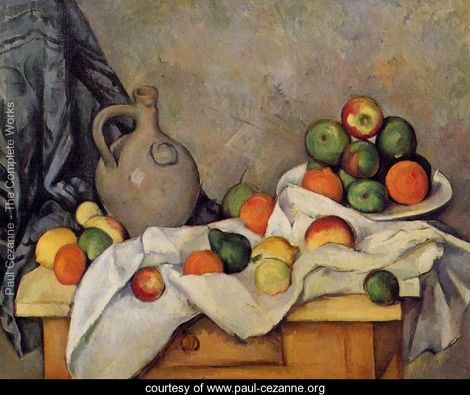 This is the Curtain Jug And Fruit by Paul Cezanne, which reminds me of the scene in the book where Miranda shows Clegg her paintings and wants him to choose the best ones in p.132. Miranda wants him to choose the one that does not looks realistic but can express her personalities. Just as the painting of Cezanne, which looks flat but reveals the change of lights on objects over time.