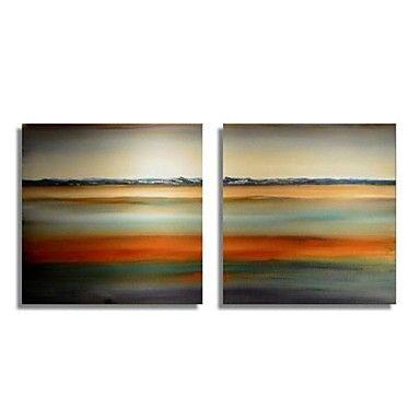 Huile+peinte+à+la+main+peinture+abstraite+moderne+avec+Set+de+cadre+tendu+de+2  +–+USD+$+95.99