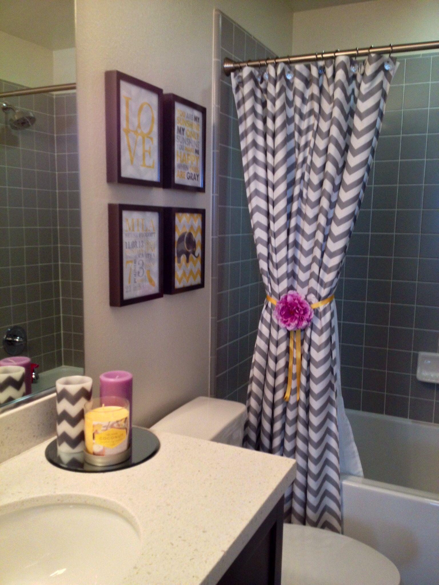 milas lilac white grey chevron bathroom