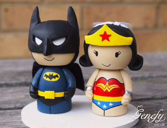 superhero wedding cake topper batman and wonderwoman wedding cake topper 20609