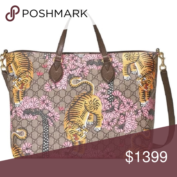 b50883265cb5 Gucci Bengal Tiger GG Supreme Tote w/Strap #453705 - GG Supreme Soft Coated  Canvas Exterior - Bengal Tiger Print - Brown Leather Trim - Rolled Leather  Top ...