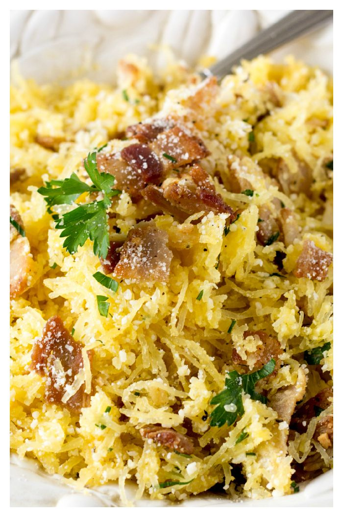 All the creamy, cheesy, bacon goodness you love about Pasta Carbonara, but lightened up! Swapping out traditional spaghetti for spaghetti squash saves about 190 calories per one cup serving.