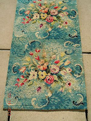 Rare Best Pastel Blue Wool Antique Floral Rose Spray