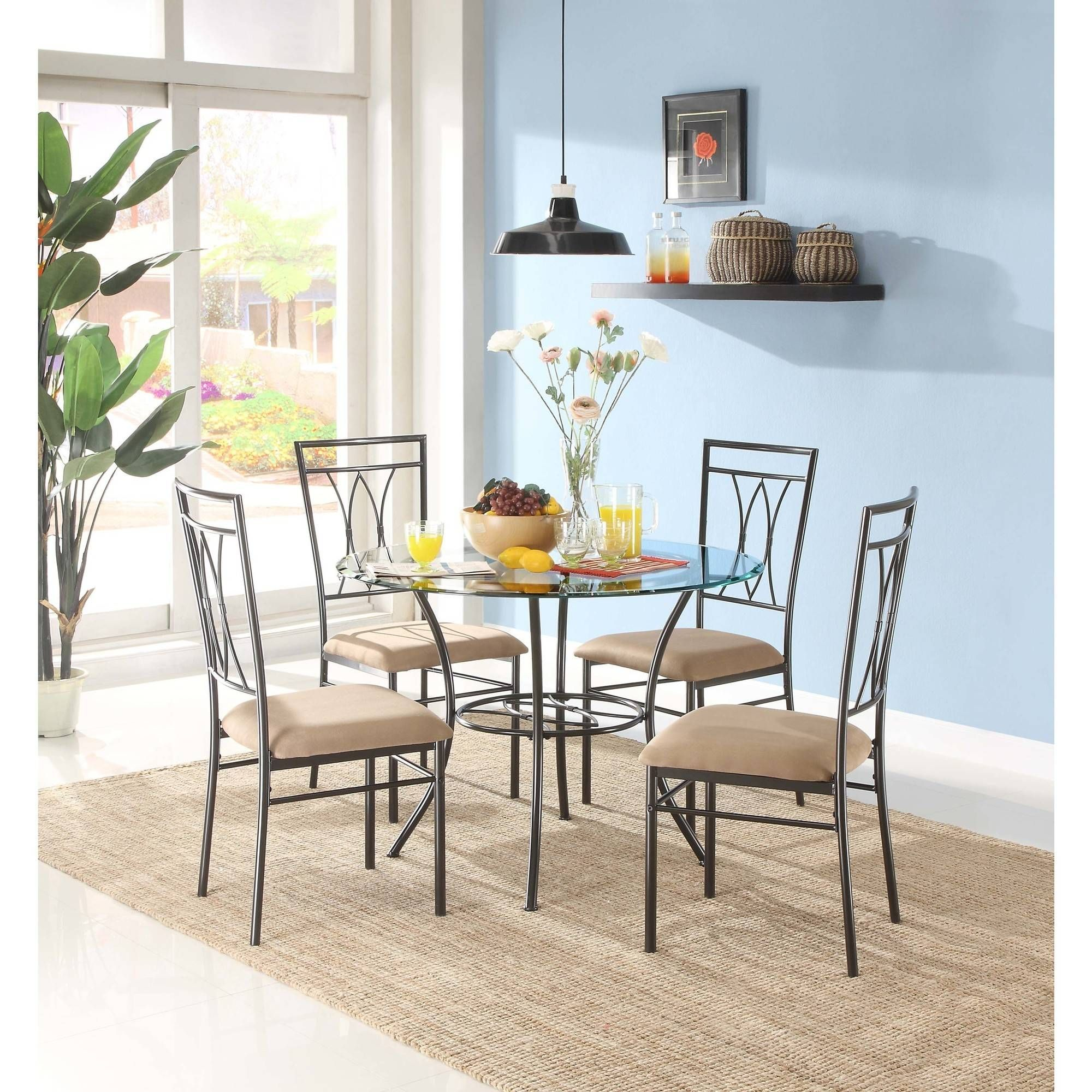 Mainstays Metal And Glass Dining Set Table And 4 Chairs