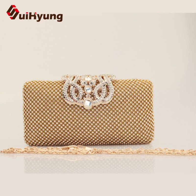 Lowest Price Womens Diamond Clutch Bags Fashion Design Party Evening Wedding Small Purse Female