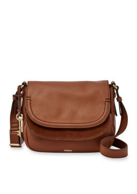 721f707216c Fossil Brown Peyton Double Flap Crossbody