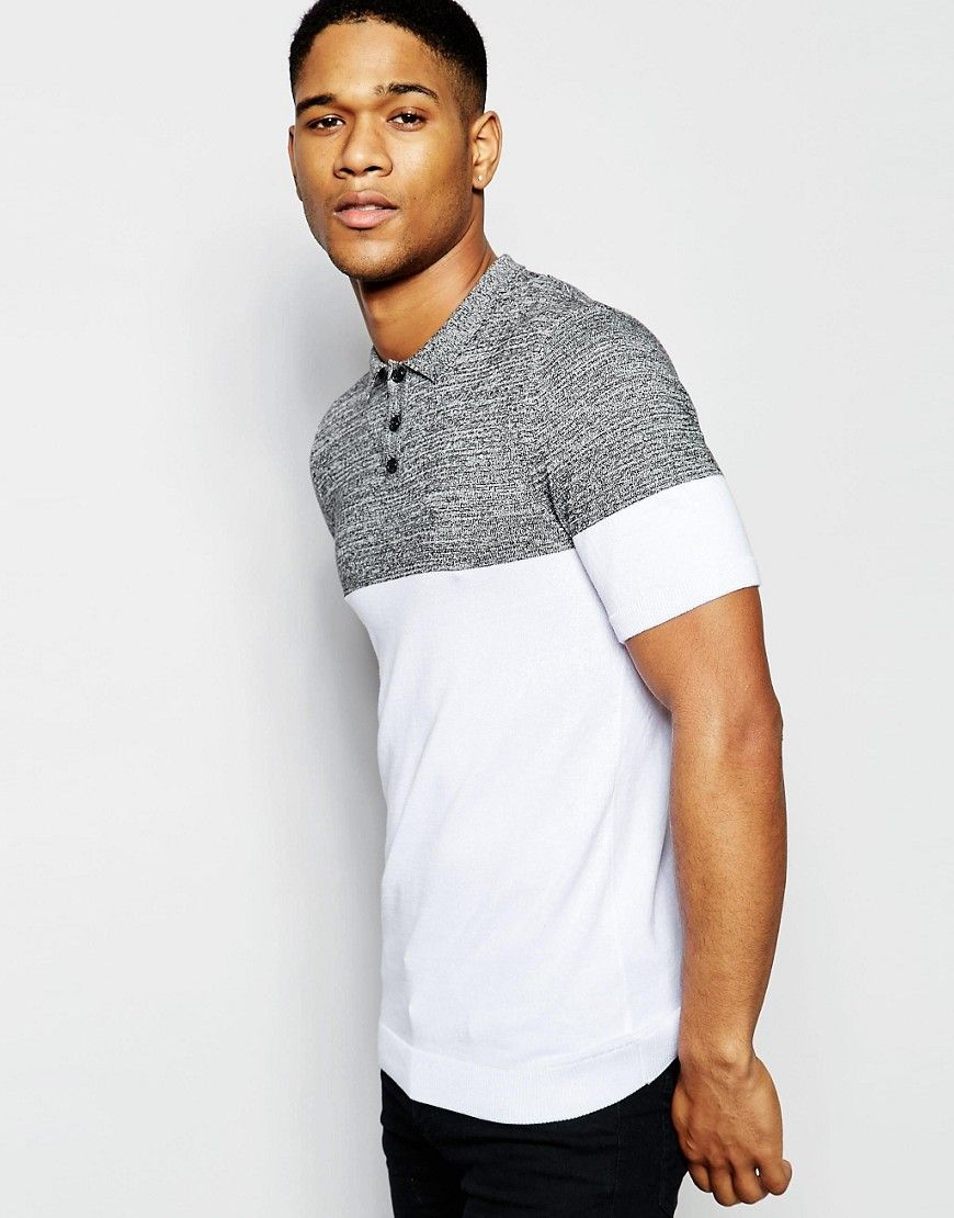 307fc556 Image 1 of ASOS Muscle Fit Knitted Polo in Colour Block Polo Collar Shirts,  Polo