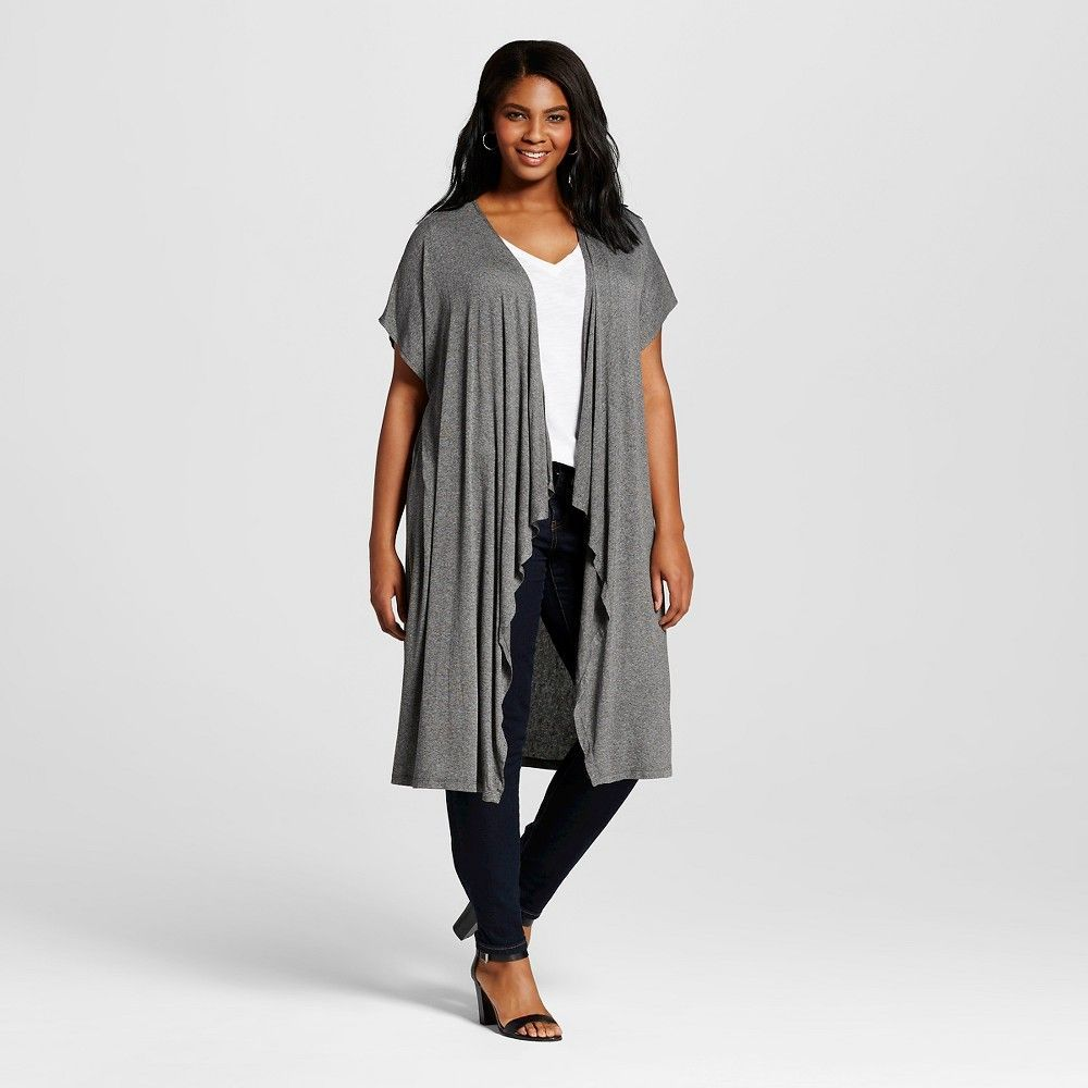 041bd8698ad Women's Plus Size Short Sleeve Long Duster Charcoal (Grey ...