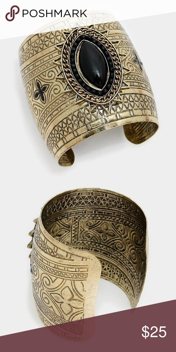 """Wide tribal metal cuff bracelet • Size : 2.5"""" H • Cuff • Wide tribal metal cuff bracelet Jewelry Bracelets"""