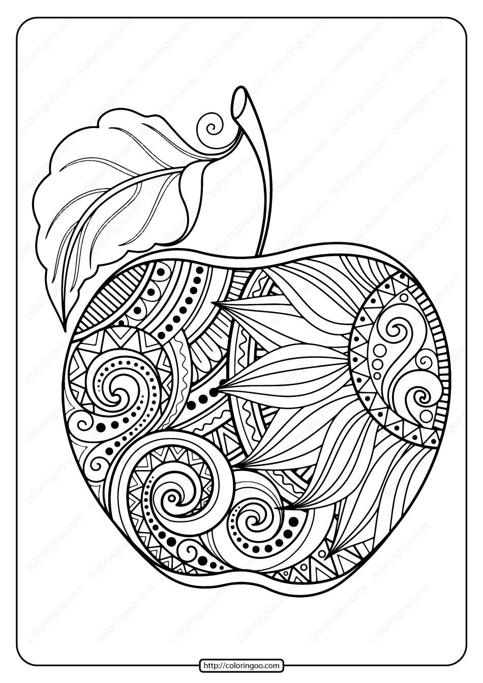 Printable Zentangle Apple Pdf Coloring Page Apple Coloring Pages Mandala Coloring Pages Coloring Pages