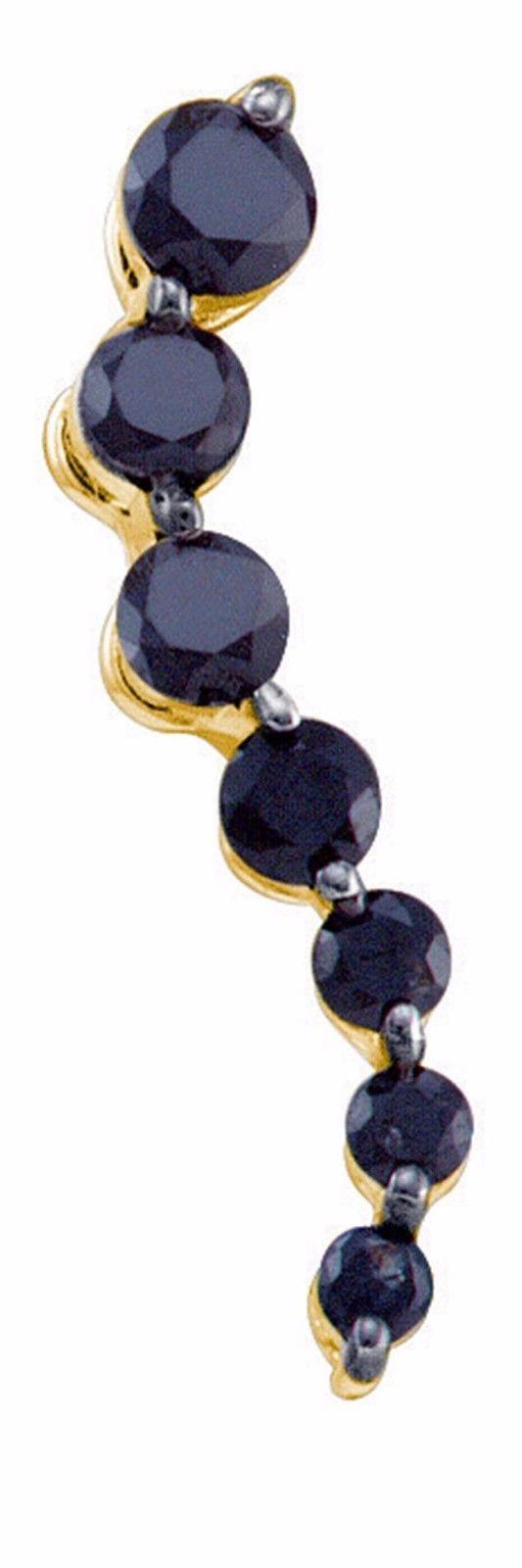 0.28CT Black/White Diamond 10K Yellow Gold Journey Pendant - Genuine Diamond