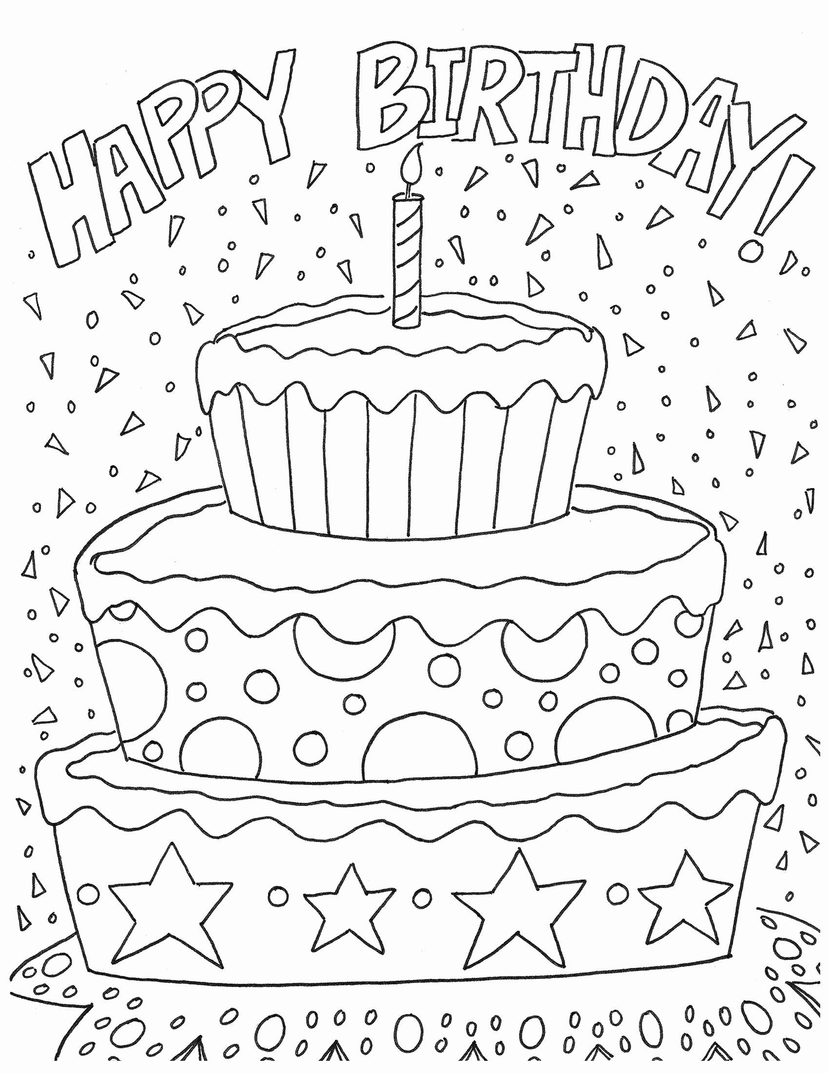 Birthday Coloring Pages To Print Lovely Elegant Blank Birthday