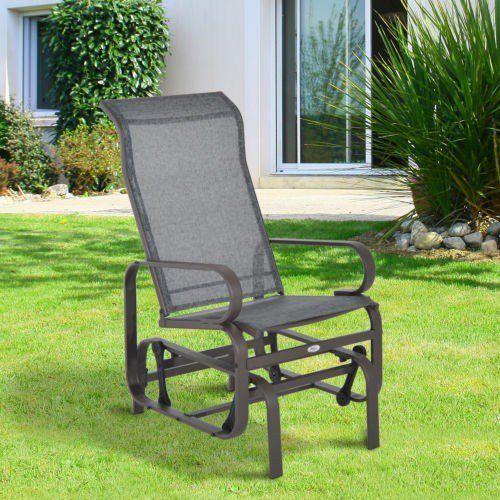 Patio Furniture Mesh Repair Patch: Outdoor Rocking Chair Metal Frame Brown Mesh Fabric Glider
