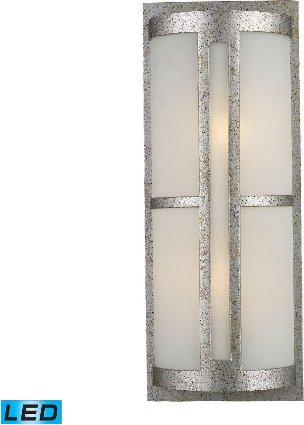 Trevot light outdoor led wall sconce in sunset silver and frosted