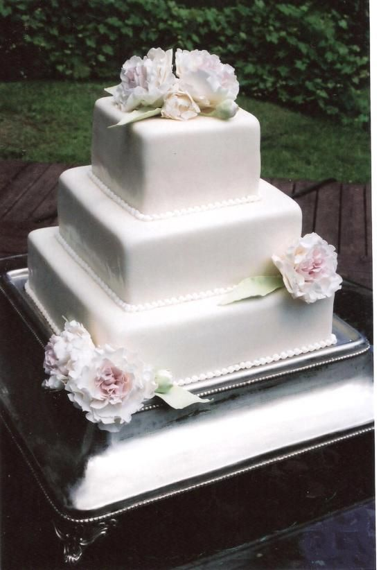 fondant square cake with hand made sugar flowers from Jenny\'s ...