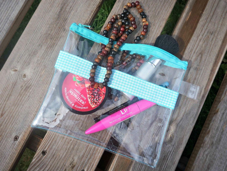 Clear Vinyl Mint Gingham Makeup Bag See Through Gingham