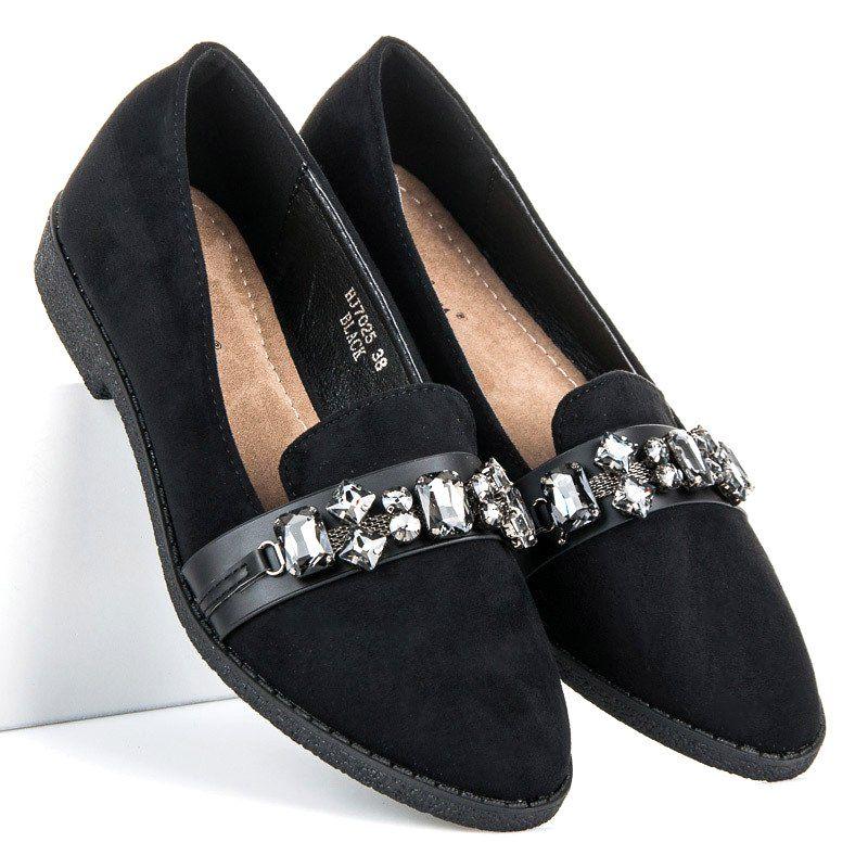 Sweet Shoes Zamszowe Mokasyny Z Krysztalkami Czarne Shoes Mule Shoe Slippers