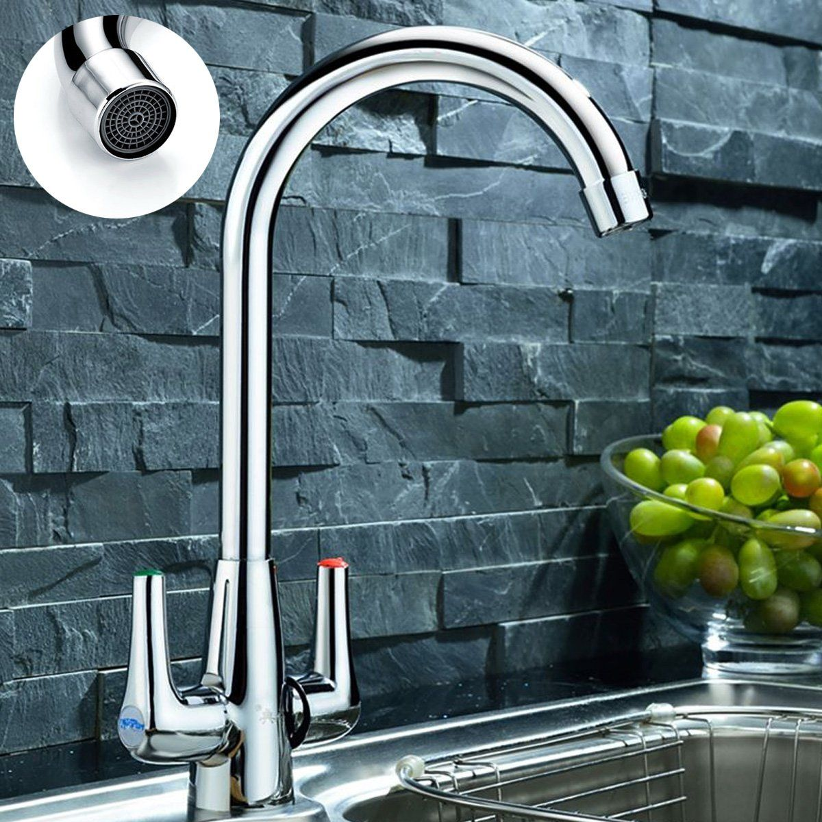 Modern Chrome Dual Twin Lever Kitchen Sink Faucet Cold And Hot