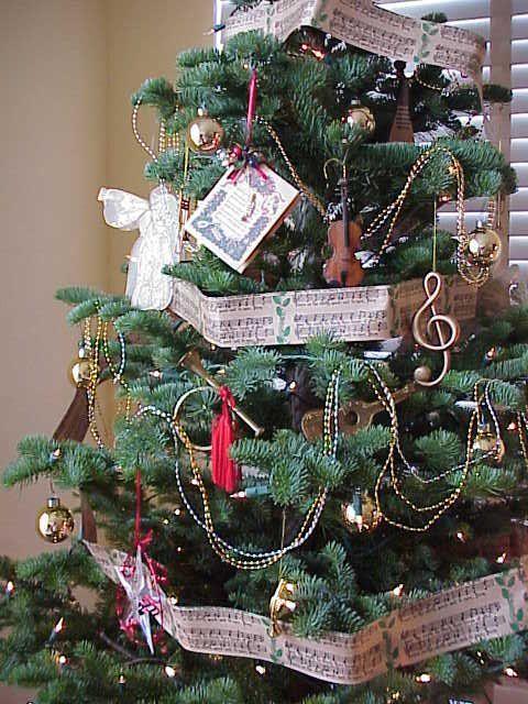 Musical Theme Christmas Trees Christmas Decorations Christmas Sheet Music Christmas Tree Themes