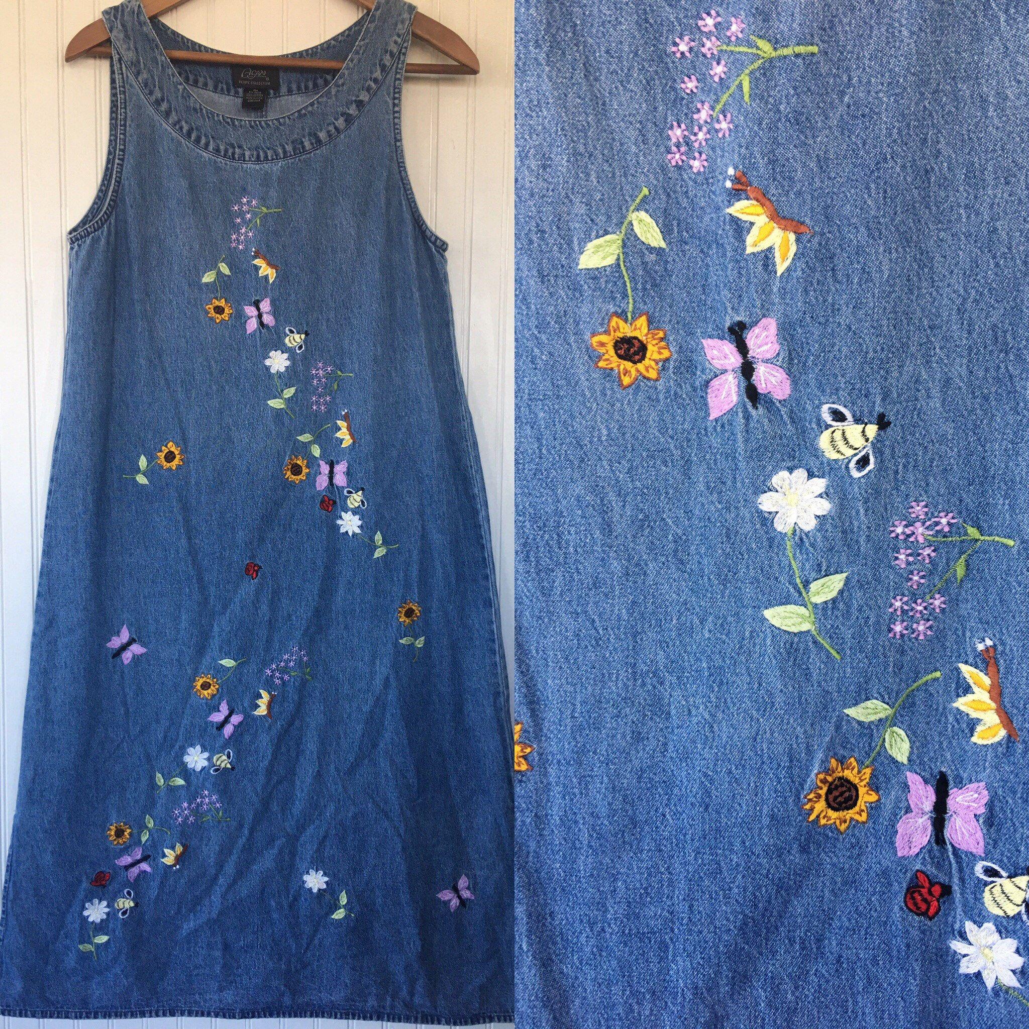 a94e770c66d24 Vintage 90s Denim Jumper Blue Jean Sleeveless Dress Size PM Small Petite  Medium M Med S