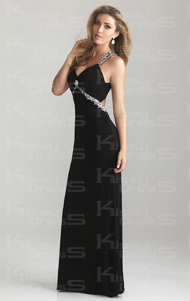 Chiffon Sheath V-neck Long Backless Prom Dress | Stuff to Buy ...