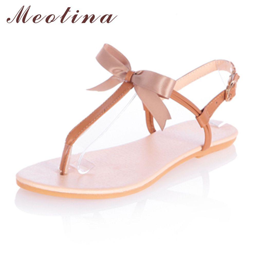 b5c9c750a311ac Meotina Women Thong Sandals Summer Ankle Strap Cheap Beach Flip-flops Flats  Female Butterfly Knot Beige Gold Brown Shoes