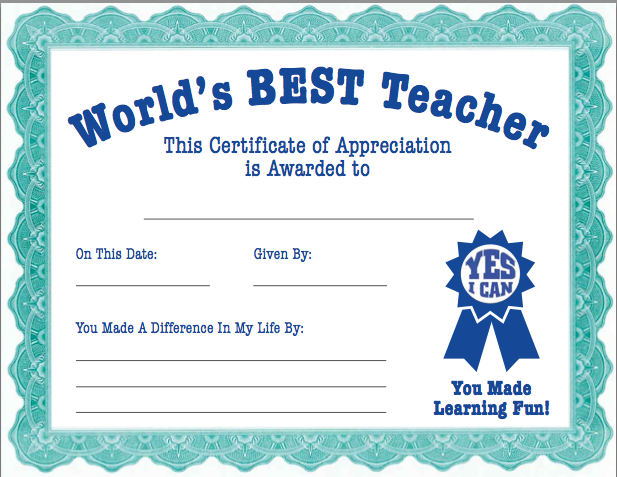 Teacher Appreciation Certificate From The Pto Today File Exchange