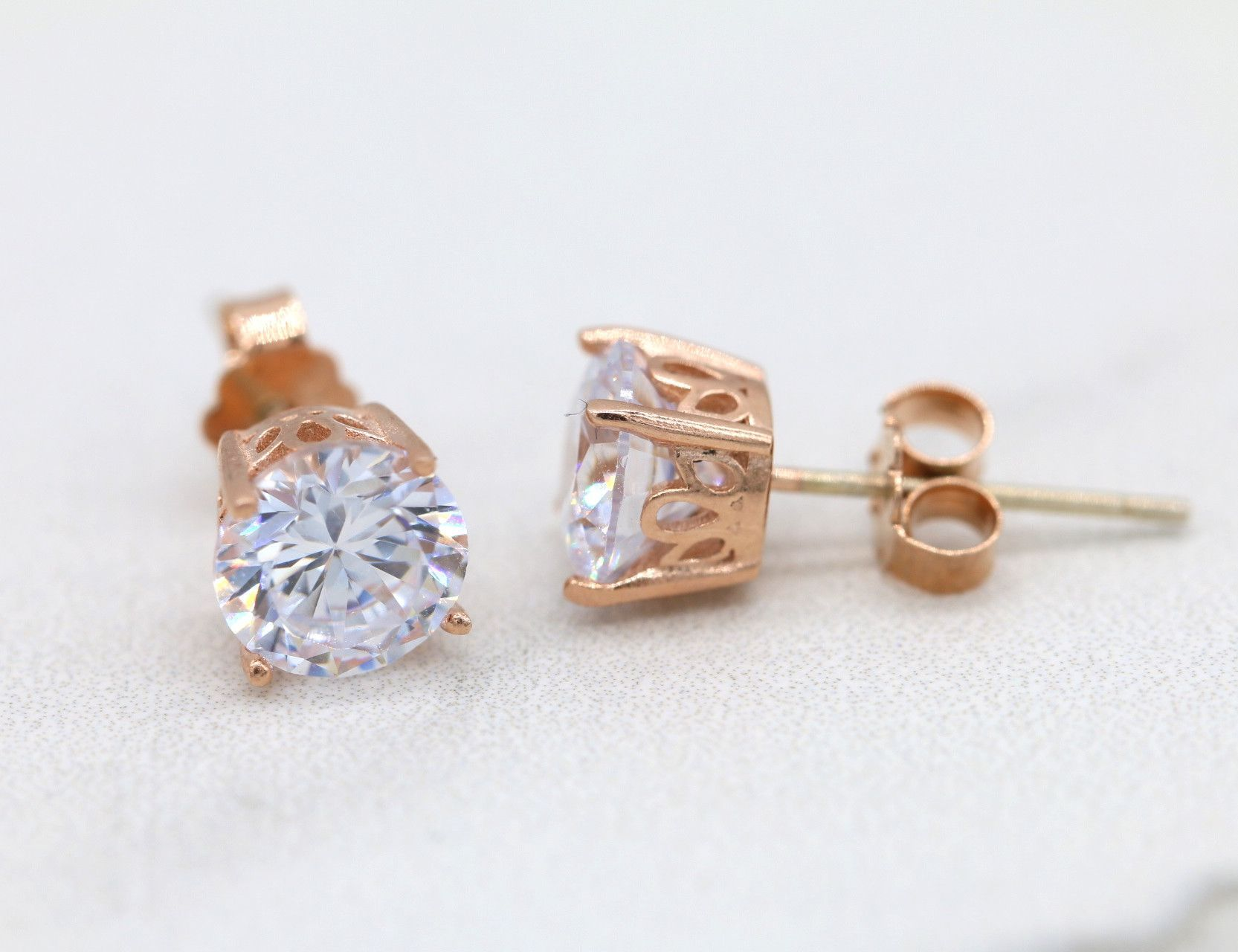Rose Gold Stud Earrings Sterling Silver Stud Earrings