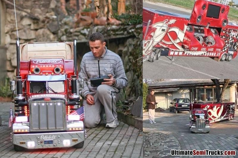 luca bordin 39 s 1 4 scale radio controlled peterbilt 359 model truck and nascar van trailer with a. Black Bedroom Furniture Sets. Home Design Ideas
