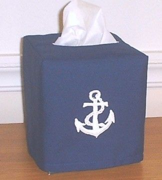 Navy Nautical Tissue Box Cover Embroidered Anchor By Nancyslinens 9 98