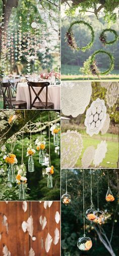hanging decorations for outdoor wedding, boho wedding ideas, dream catcher, hanging flowers, bohemian wedding trends
