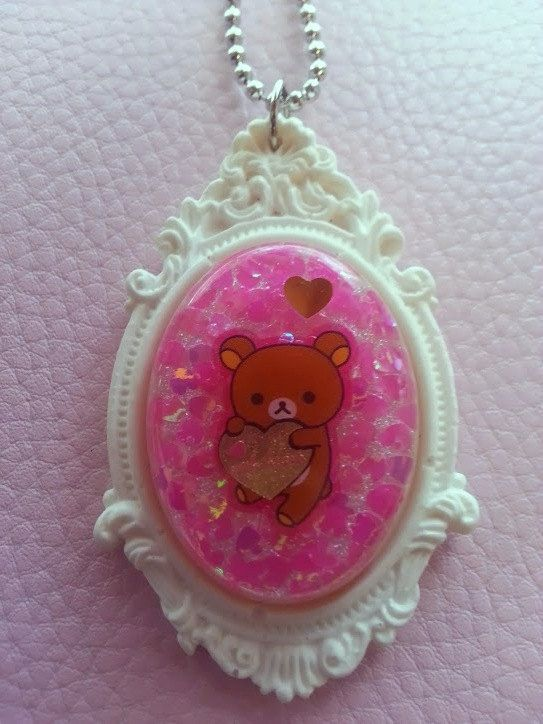 Kawaii Kitten Necklace Pink Cameo Cute Baby Cat Gold Chain Pastel Necklace