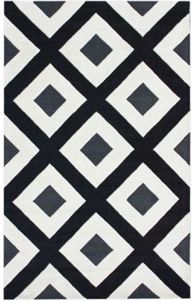black and white trellis rug