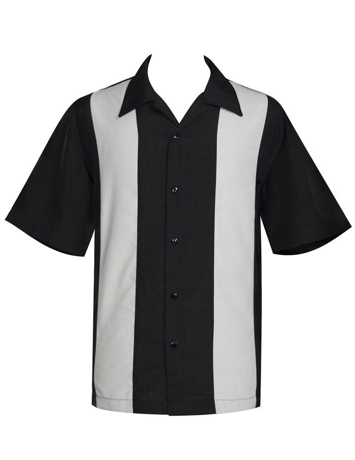 100/% Polyester Men/'s Black and Ivory Striped 50s Bowling Shirt Size M and L