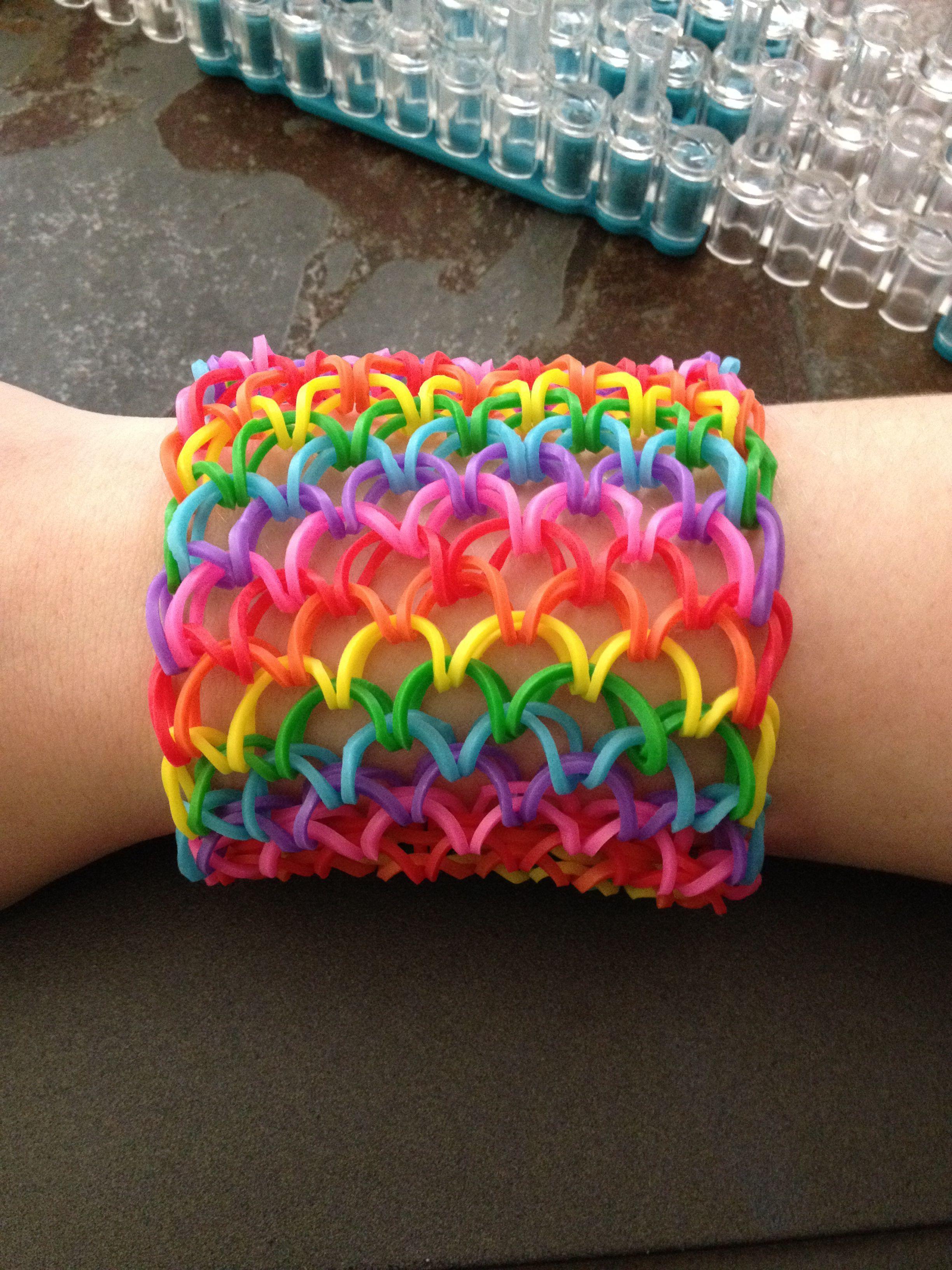 Diy Dragon Scale Cuff Loom Bracelet Free Video Guide Rainbow Loom Patterns Rainbow Loom Bracelets Rainbow Loom Designs
